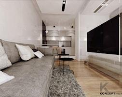 Angel Wawel III - Średni biały salon z kuchnią z jadalnią, styl nowoczesny - zdjęcie od KONZEPT Architekci