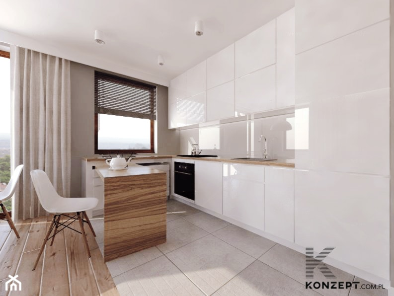Grzegórzecka - Średnia biała szara kuchnia w kształcie litery u w aneksie z wyspą z oknem, styl minimalistyczny - zdjęcie od KONZEPT Architekci