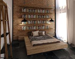 Angel Wawel - Średnia kolorowa sypialnia dla gości na poddaszu, styl industrialny - zdjęcie od KONZEPT Architekci