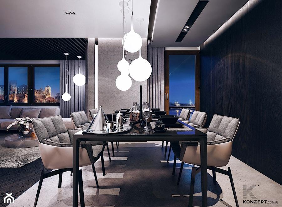 Gen. Kościuszki - Duża otwarta czarna szara jadalnia w salonie, styl minimalistyczny - zdjęcie od KONZEPT Architekci