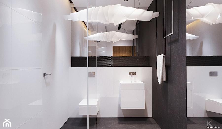 Tarnów - Mała biała łazienka na poddaszu w bloku w domu jednorodzinnym bez okna - zdjęcie od KONZEPT Architekci