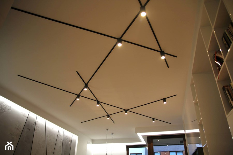 Monochromatyczny Apartament 108m2 Szary Biały Salon Styl