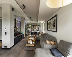 Sadyba 110 - Duży biały salon z bibiloteczką, styl nowoczesny - zdjęcie od Łukasz Milewski Architekt - Homebook