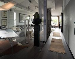 Sadyba 110 - Duże szare biuro domowe kącik do pracy w pokoju, styl nowoczesny - zdjęcie od Łukasz Milewski Architekt - Homebook