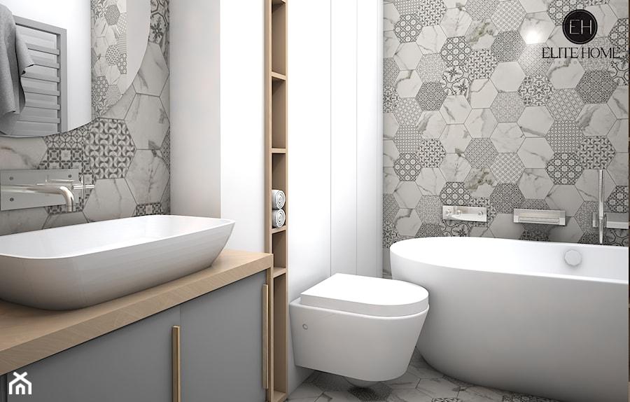 APARTAMENTY POKAZOWE 2 BRZOZOWA LEGIONOWO - Średnia łazienka w bloku bez okna, styl skandynawski ...
