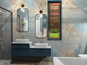łazienka z nutką artystyczną - Średnia szara łazienka na poddaszu w bloku w domu jednorodzinnym z oknem, styl vintage - zdjęcie od Katarzyna Krawczyszyn