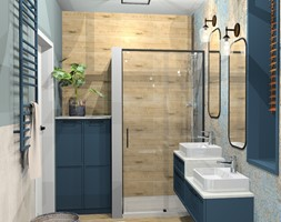 łazienka z nutką artystyczną - Mała szara łazienka na poddaszu w bloku w domu jednorodzinnym bez okna, styl vintage - zdjęcie od Katarzyna Krawczyszyn