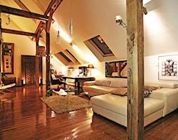 Apartament Wrocław - Duże białe biuro domowe kącik do pracy na poddaszu w pokoju, styl eklektyczny - zdjęcie od AUTORSKA PRACOWNIA PROJEKTOWA DR JACEK KRZYSZTOF ŻUREK
