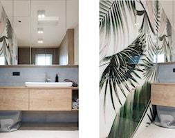 Dom pod Łodzią - Mała szara łazienka w bloku w domu jednorodzinnym z oknem, styl nowoczesny - zdjęcie od Hanna Pietras Pracownia Architektoniczna
