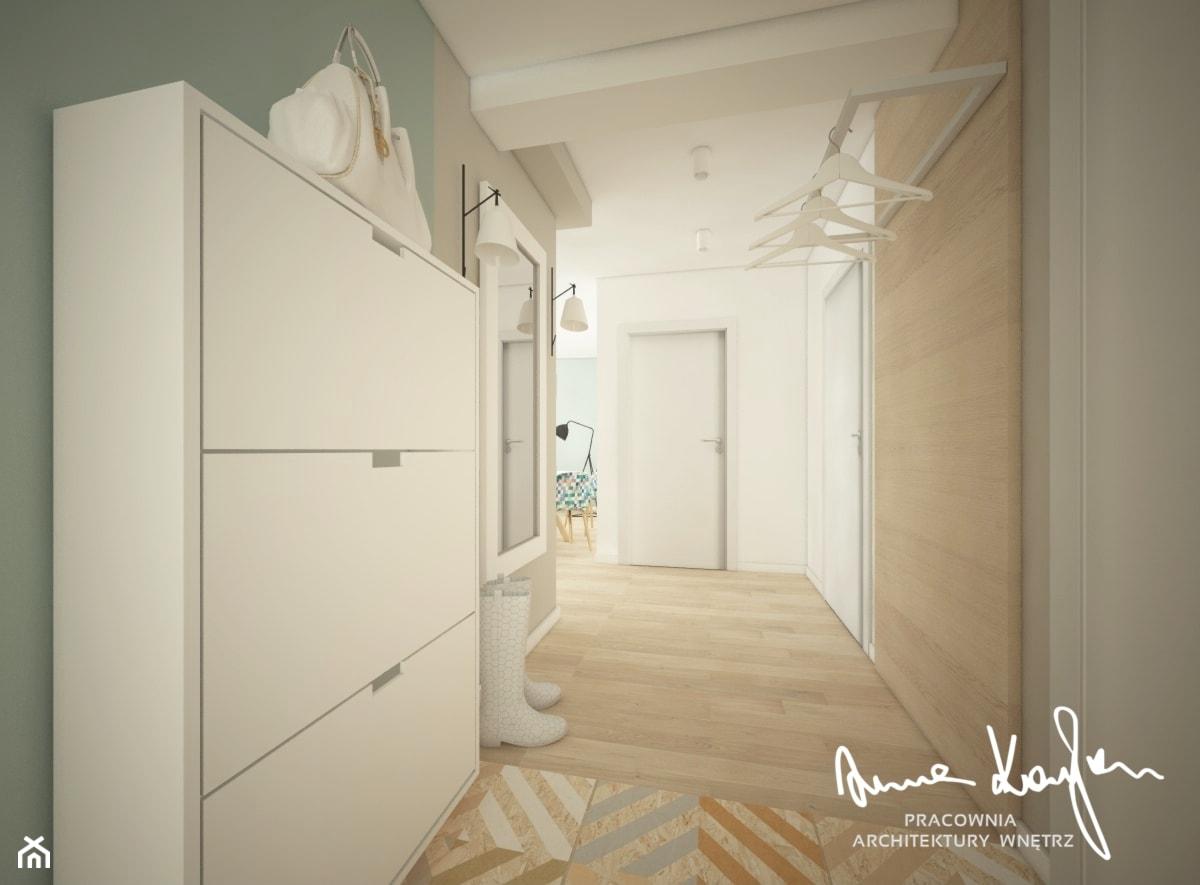 Mieszkanie w pastelach - Mały biały hol / przedpokój, styl skandynawski - zdjęcie od Anna KarJan Pracownia architektury wnętrz - Homebook