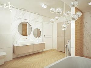 ŁAZIENKA 17M2 - Duża beżowa łazienka w bloku w domu jednorodzinnym bez okna - zdjęcie od Anna KarJan Pracownia architektury wnętrz