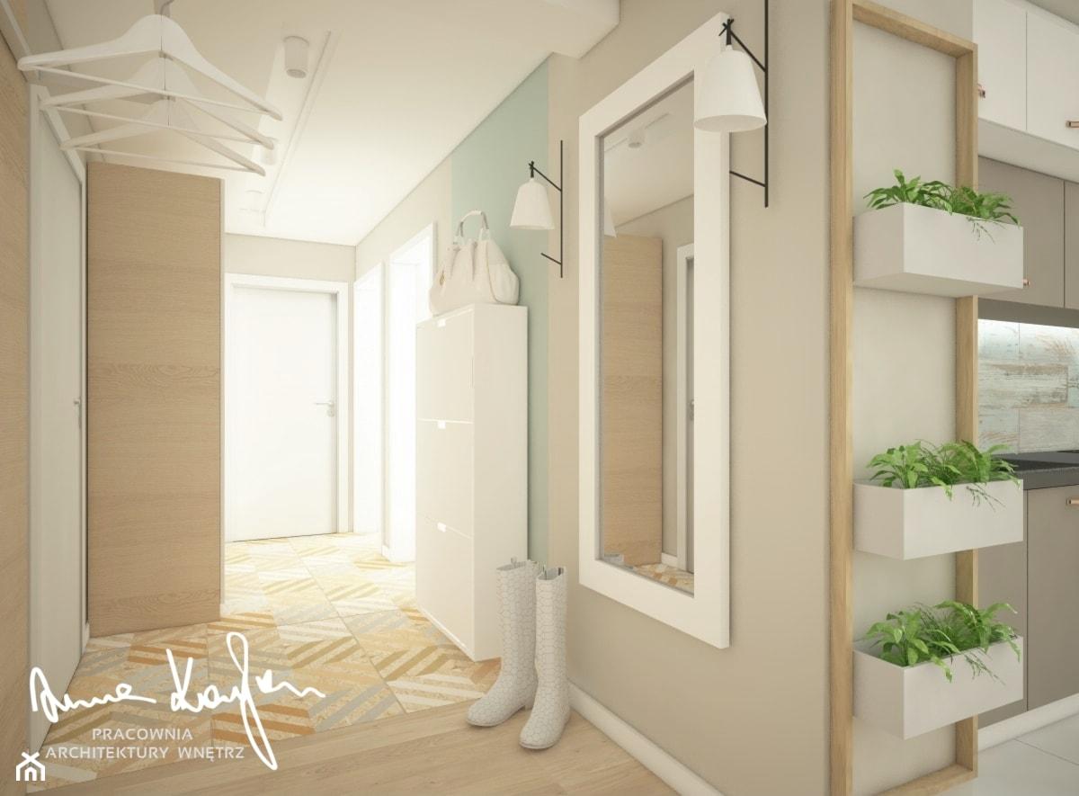 Mieszkanie w pastelach - Średni beżowy zielony hol / przedpokój, styl skandynawski - zdjęcie od Anna KarJan Pracownia architektury wnętrz - Homebook