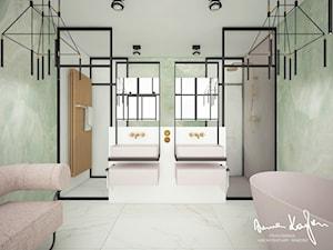 New Concept 2 - Średnia biała zielona łazienka w bloku w domu jednorodzinnym bez okna, styl nowoczesny - zdjęcie od Anna KarJan Pracownia architektury wnętrz