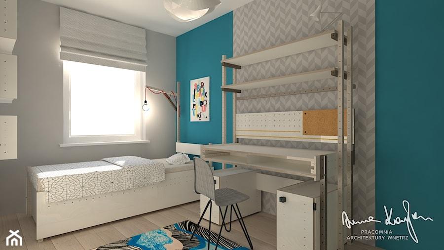 SEGMENT - Średni szary turkusowy pokój dziecka dla chłopca dla dziewczynki dla ucznia dla nastolatka, styl nowoczesny - zdjęcie od Anna KarJan Pracownia architektury wnętrz