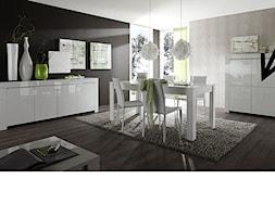 Jadalnia - Średnia otwarta biała brązowa jadalnia w salonie, styl włoski - zdjęcie od italiastyle