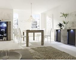 Jadalnia - Średnia otwarta biała jadalnia w salonie, styl włoski - zdjęcie od italiastyle