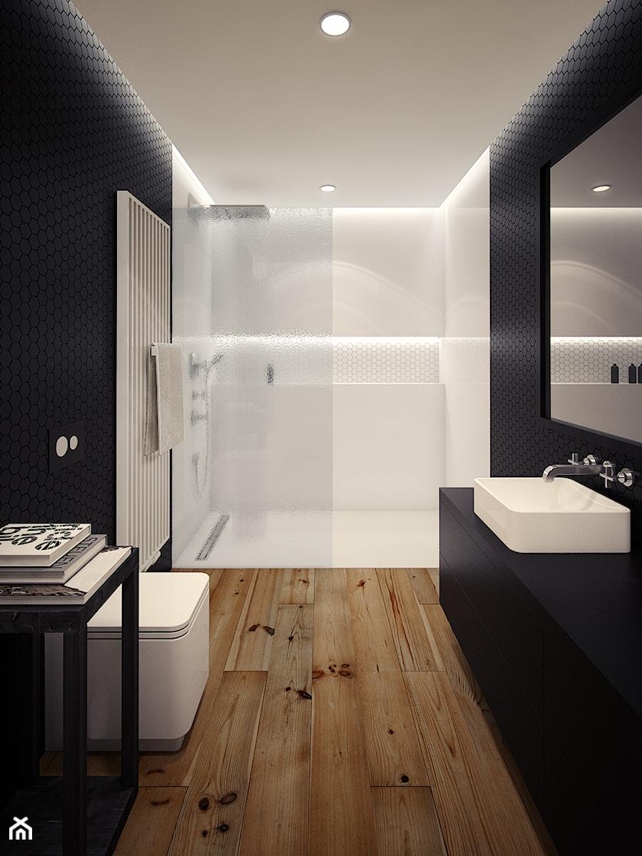Średnia biała czarna łazienka, styl minimalistyczny - zdjęcie od OFD architects