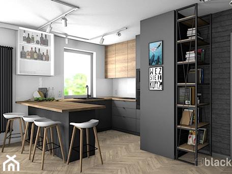 Aranżacje wnętrz - Kuchnia: Eklektyczne mieszkanie w Gdyni - Średnia otwarta biała czarna kuchnia w kształcie litery g w aneksie z oknem, styl eklektyczny - black design. Przeglądaj, dodawaj i zapisuj najlepsze zdjęcia, pomysły i inspiracje designerskie. W bazie mamy już prawie milion fotografii!