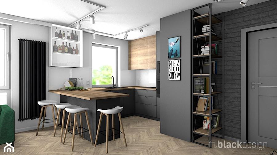 Eklektyczne mieszkanie w Gdyni - Średnia otwarta biała czarna kuchnia w kształcie litery g w aneksie z oknem, styl eklektyczny - zdjęcie od black design