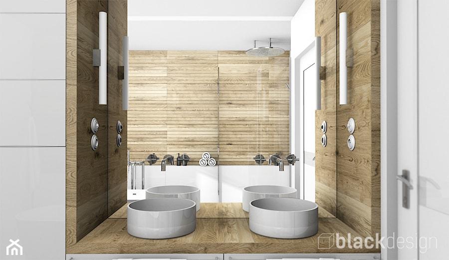 łazienka Dla Dwojga Z Prysznicem I Wanną Biel I Drewno