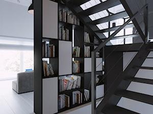 Wnętrze czarny dom - Średnie wąskie schody dwubiegowe drewniane metalowe, styl industrialny - zdjęcie od 081 architekci