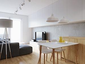 Mała otwarta biała szara jadalnia w salonie, styl skandynawski - zdjęcie od 081 architekci