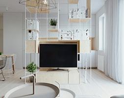 WNĘTRZE PJA - Mały biały salon z jadalnią, styl skandynawski - zdjęcie od 081 architekci