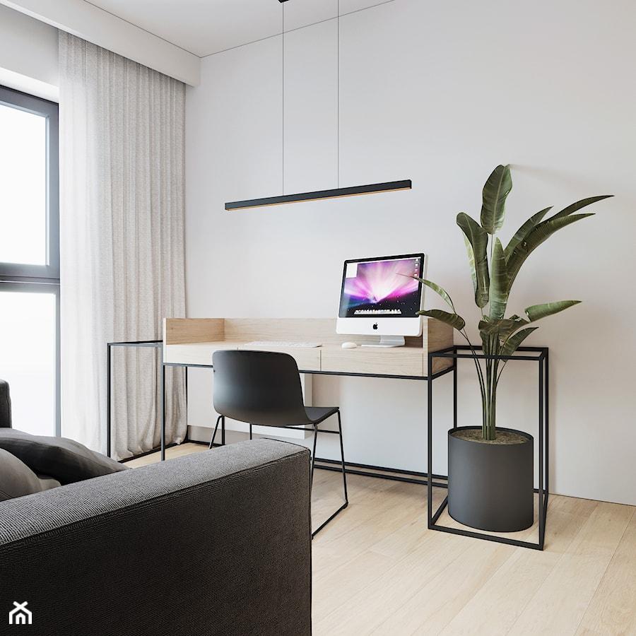 Aranżacje wnętrz - Biuro: WNĘTRZE ROZ_18 - Małe białe biuro domowe kącik do pracy w pokoju, styl minimalistyczny - 081 architekci. Przeglądaj, dodawaj i zapisuj najlepsze zdjęcia, pomysły i inspiracje designerskie. W bazie mamy już prawie milion fotografii!
