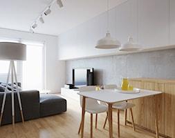 Mieszkanie WE - Mała otwarta szara jadalnia w kuchni, styl skandynawski - zdjęcie od 081 architekci
