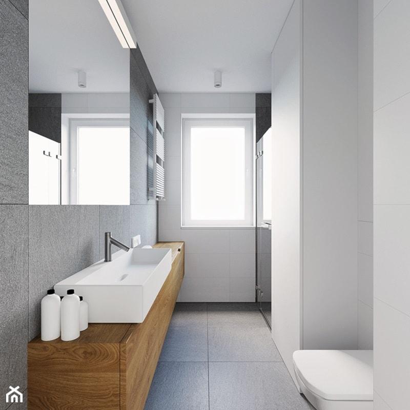 Mieszkanie PW - Mała szara łazienka z oknem, styl nowoczesny - zdjęcie od 081 architekci