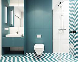 Kolorowa kawalerka - Średnia biała turkusowa łazienka na poddaszu w bloku w domu jednorodzinnym bez okna, styl nowoczesny - zdjęcie od 081 architekci