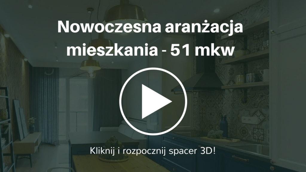 Aranżacja mieszkania w stylu nowoczesnym. Powierzchnia mieszkania wynosi 51 mkw. Inwestorem jest młoda kobieta.