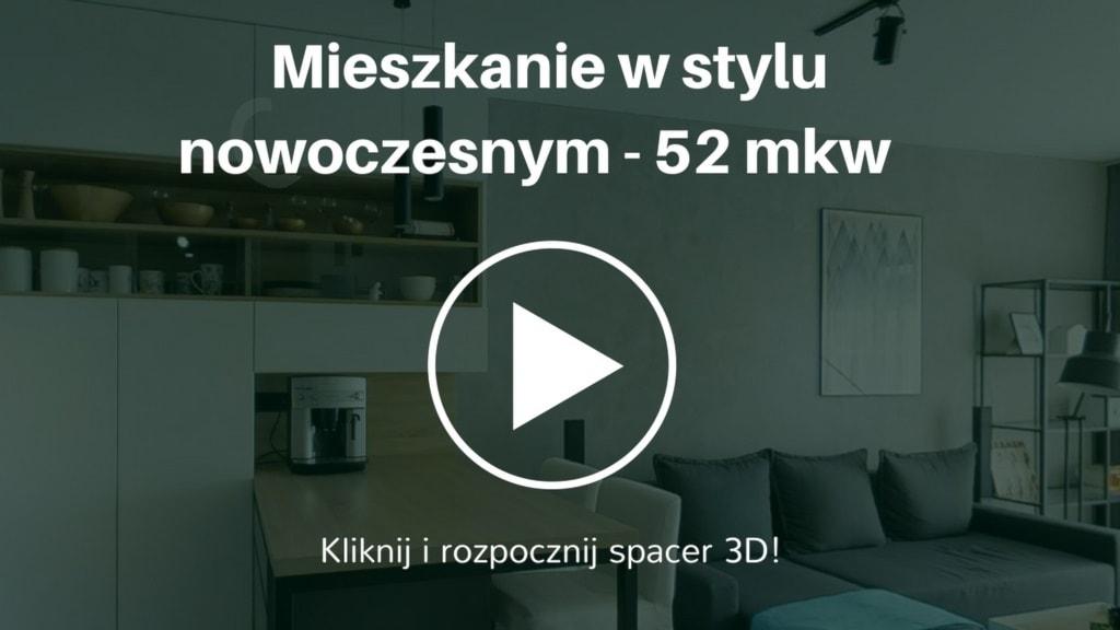 Nowoczesna aranżacja mieszkania w stylu nowoczesnym, umieszczonego w budownictwie wielorodzinnym powstałym na nowym osiedlu w Krakowie.  Powierzchnia mieszkania wynosi 52 mkw. Inwestorem jest pasjonat gór.