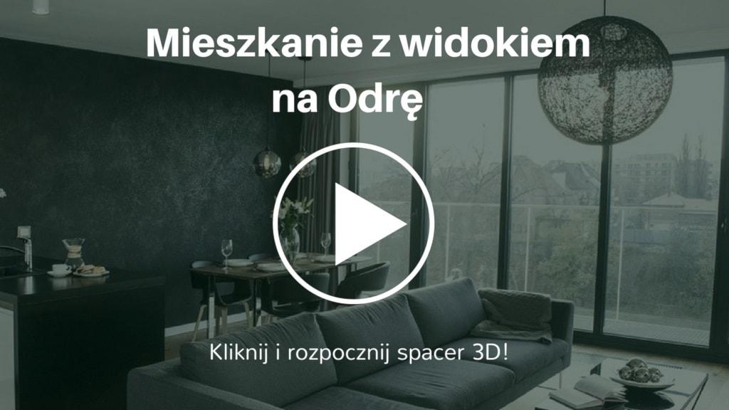 Aranżacja mieszkania w stylu nowoczesnym o powierzchni 76 mkw. Mocny akcent stanowi w nim czarna betonowa ściana w salonie oraz stół z orzecha amerykańskiego. Te dwa elementy nadają wnętrzu oryginalności. Inwestycja mieści się w centrum Wrocławia. Z okna mieszkania rozpościera się widok na Odrę.