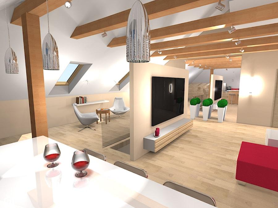 Salon na poddaszu  zdjęcie od Ekskluzywne Wnętrze -> Salon Kuchnia Na Poddaszu