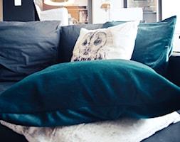 Święta w kolorze aksamitnej zieleni i miedzi - Czarny salon z kuchnią, styl skandynawski - zdjęcie od My Sweet Dreaming Home - Homebook