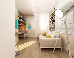 APARTAMENT W STYLU EKLEKTYCZNYM W EKO PARKU W WARSZAWIE - Średnie szare biuro domowe kącik do pracy w pokoju, styl nowoczesny - zdjęcie od TISSU Architecture