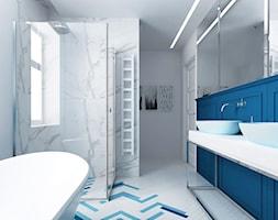 Zabytkowy dworek w Krzeszowicach - Średnia biała niebieska łazienka w bloku w domu jednorodzinnym bez okna, styl eklektyczny - zdjęcie od ORANGE STUDIO
