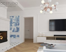 Zabytkowy dworek w Krzeszowicach - Mały biały salon, styl eklektyczny - zdjęcie od ORANGE STUDIO