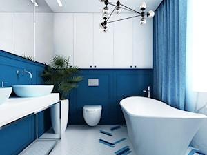 Zabytkowy dworek w Krzeszowicach - Średnia biała niebieska łazienka w bloku w domu jednorodzinnym z oknem, styl eklektyczny - zdjęcie od ORANGE STUDIO