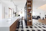 oryginalny salon z kuchnią w stylu scandi
