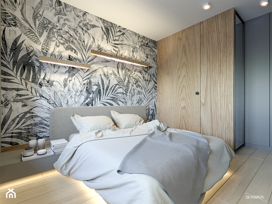 Wrocław- Ogrody Hallera - Mała szara sypialnia małżeńska, styl nowoczesny - zdjęcie od 28 FORM