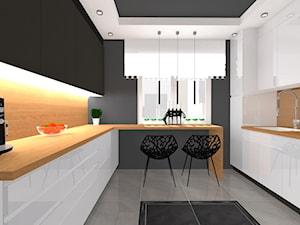 Kuchnia biała z drewnem - Średnia otwarta szara kuchnia w kształcie litery u z oknem, styl nowoczesny - zdjęcie od ALI DECOR ALINA KOWALSKA PROJEKTOWANIE I ARANŻACJA WNĘTRZ