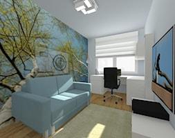 DOM PAJĘCZNO - Małe białe biuro domowe kącik do pracy w pokoju, styl nowoczesny - zdjęcie od ALI DECOR ALINA KOWALSKA PROJEKTOWANIE I ARANŻACJA WNĘTRZ
