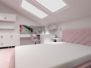 Poddasze- pokoje dziecięce - Duży biały pokój dziecka dla dziewczynki dla ucznia dla nastolatka, styl nowoczesny - zdjęcie od ALI DECOR ALINA KOWALSKA PROJEKTOWANIE I ARANŻACJA WNĘTRZ