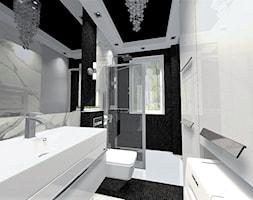 Łazienka biało-czarna - Średnia czarna szara łazienka na poddaszu w bloku w domu jednorodzinnym z oknem, styl nowoczesny - zdjęcie od ALI DECOR ALINA KOWALSKA PROJEKTOWANIE I ARANŻACJA WNĘTRZ