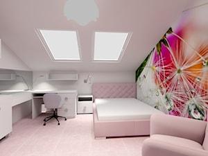 Poddasze- pokoje dziecięce - Średni biały pokój dziecka dla dziewczynki dla ucznia dla nastolatka, styl nowoczesny - zdjęcie od ALI DECOR ALINA KOWALSKA PROJEKTOWANIE I ARANŻACJA WNĘTRZ