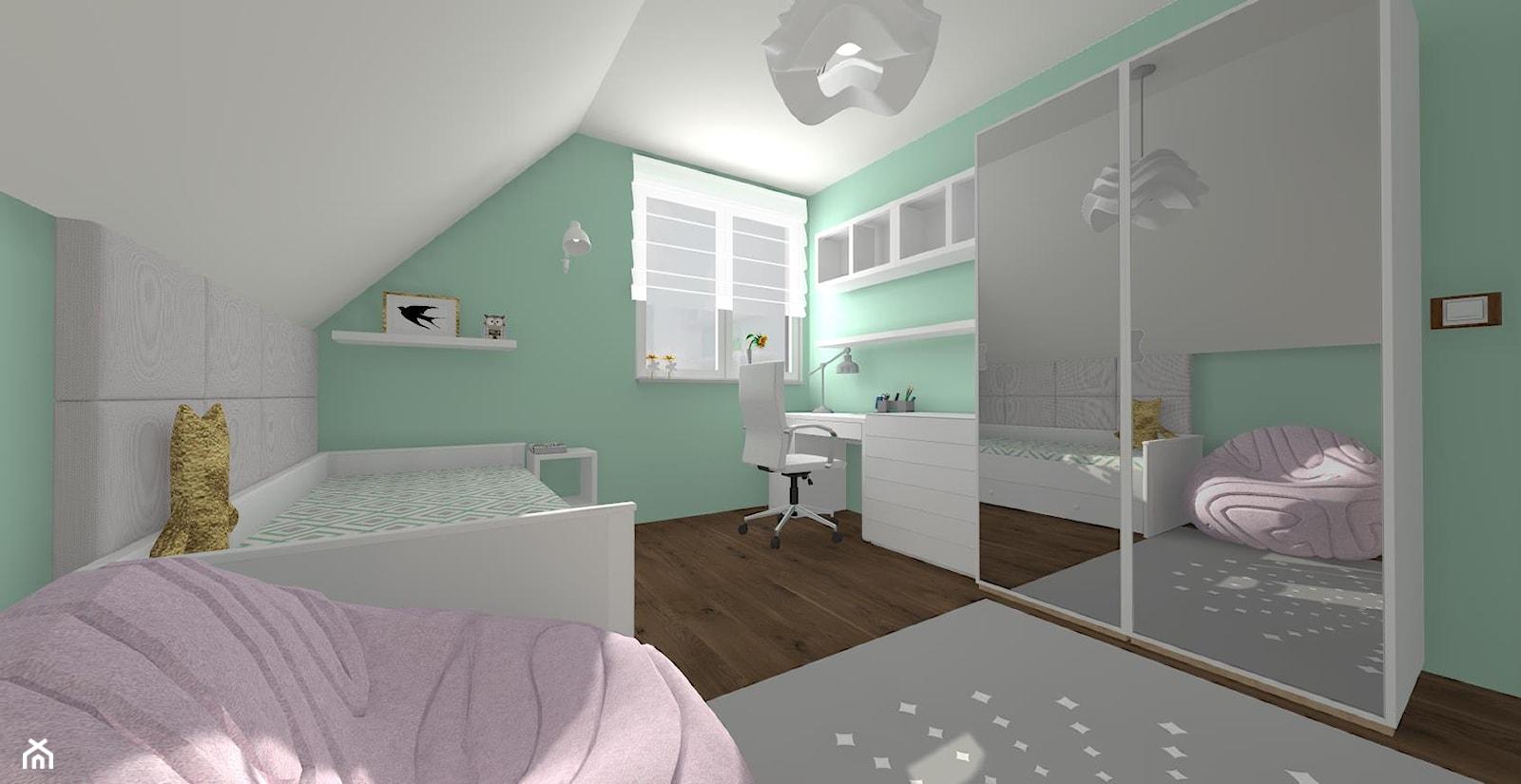 Pokój dla dziewczynki - Średni biały zielony pokój dziecka dla chłopca dla dziewczynki dla ucznia dla malucha dla nastolatka, styl nowoczesny - zdjęcie od ALI DECOR ALINA KOWALSKA PROJEKTOWANIE I ARANŻACJA WNĘTRZ - Homebook