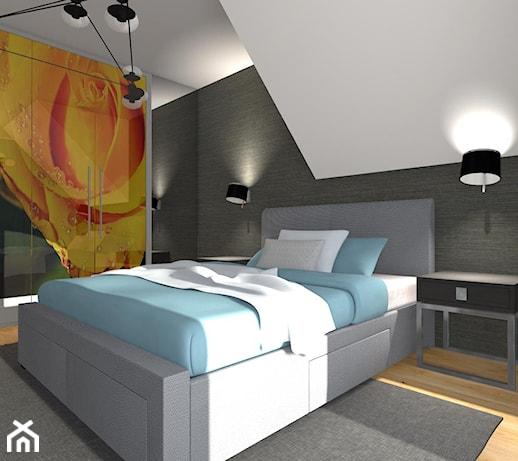 Sypialnia na poddaszu - Średnia biała czarna sypialnia ...