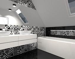 ŁAZIENKA - Średnia czarna szara łazienka na poddaszu w domu jednorodzinnym z oknem, styl nowoczesny - zdjęcie od ALI DECOR ALINA KOWALSKA PROJEKTOWANIE I ARANŻACJA WNĘTRZ